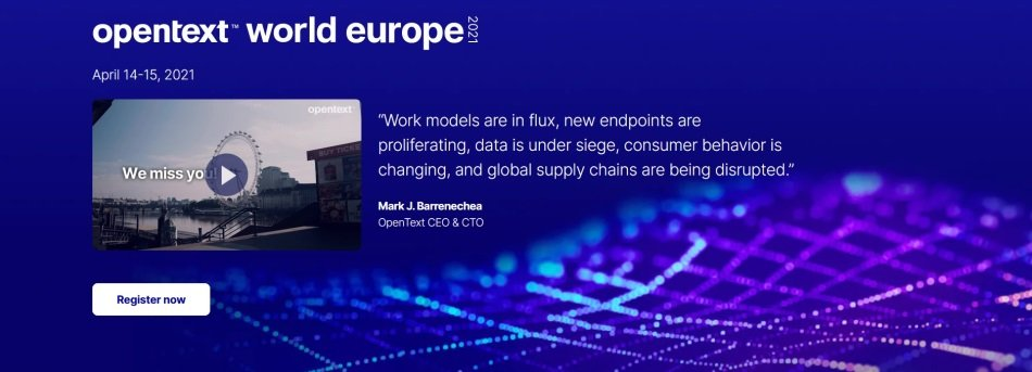 Evento virtual OpenText World Europe 2021